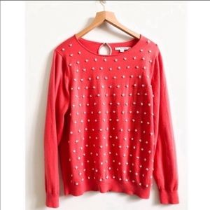 Boden Knit Sweater Persimmon With French Knots 14